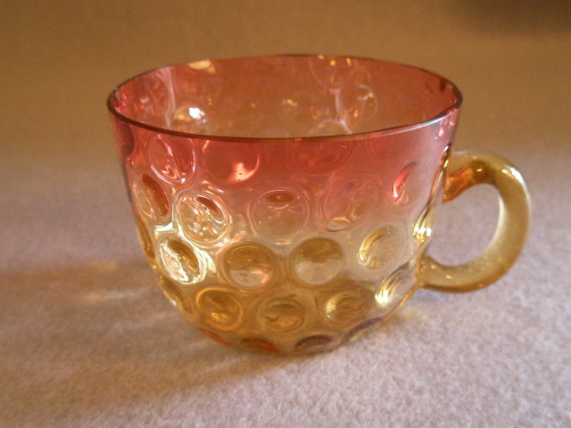 Amberina Glass Punch Cup in Inverted Baby Thumbprint Pattern w/Clear Amber Handle