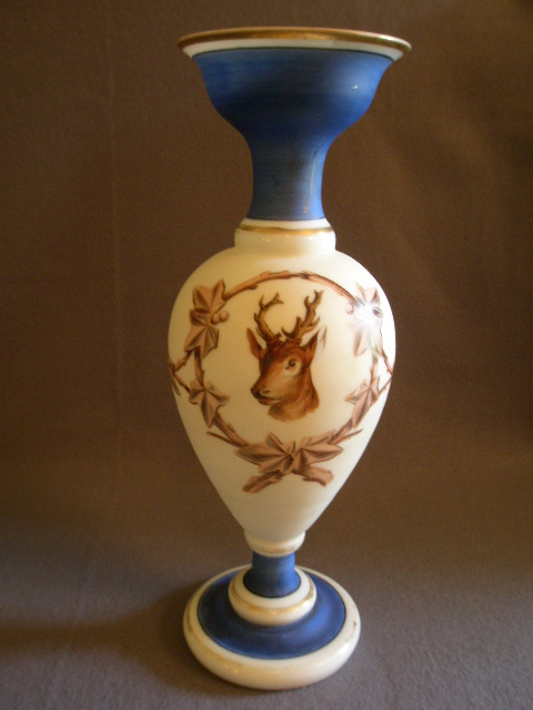 Victorian Bristol Glass Vase w/Stag and Ivy Decoration