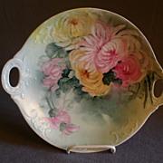 Jean Pouyat (JPL) Limoges Hand-Painted Cake/Cookie Plate: Chrysanthemum Flowers Motif
