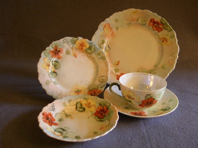 5 Pc Place Setting of O & EG Austria Hand Painted China w/Nasturtium Motif