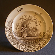 "Burgess & Leigh Brown Transfer-ware ""Rustic"" Pattern Dinner Plate"