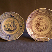 Two Staffordshire  Mulberry & Blue Transfer-ware Dishes, Circa 1880's