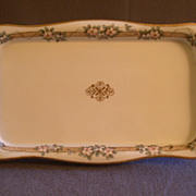 Nippon Hand-Painted Dresser Tray w/Pink & Blue Floral Motif