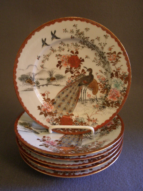 Set of 6 Meiji Period Hand-Painted Kutani Porcelain Dessert Plates w/Peacocks Decoration