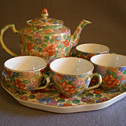 Country of China Hand-Painted Tea Set w/Floral Collage Motif