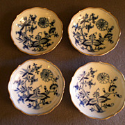 "Set of 4 Meissen Porcelain ""Blue Onion"" Pattern Sauce Dip Dishes"