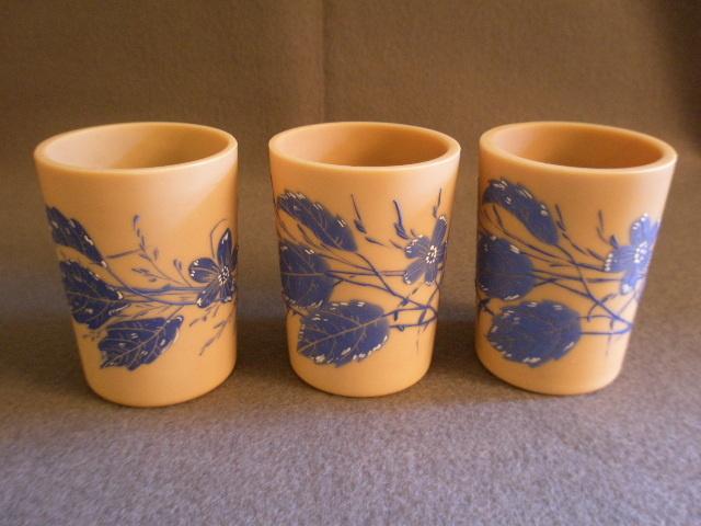 """Set of 3 """"Fireglow"""" Art Glass Tumblers w/Enamel Floral Motif"""
