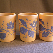 "Set of 3 ""Fireglow"" Art Glass Tumblers w/Blue Enamel Floral Motif"