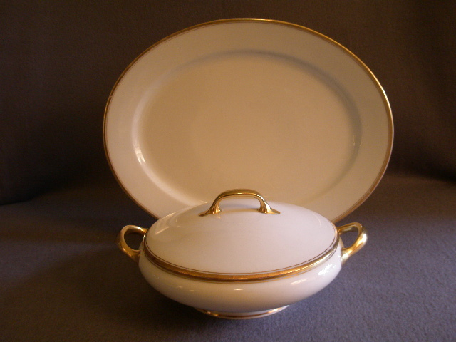 Bawo & Dotter Elite Limoges Oval platter & Covered Vegetable - White w/Gold