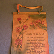 "Vintage Leather Wall-Hanging Poem ""Mother O'MIne"""