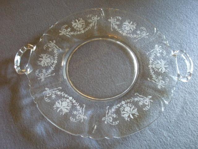 "Heisey Glass ""Orchid"" Pattern Sandwich Plate w/Handles"