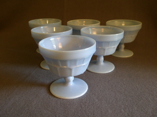 Set of 6 Jeannette Glass Company Delphite Blue Milk Glass Sherbets