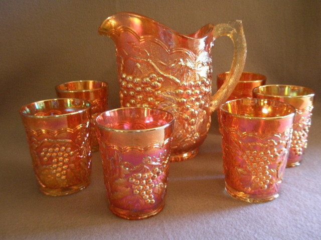 "Imperial Glass Company Marigold Carnival 7-Pc. ""Grape"" Pattern  Water Set"