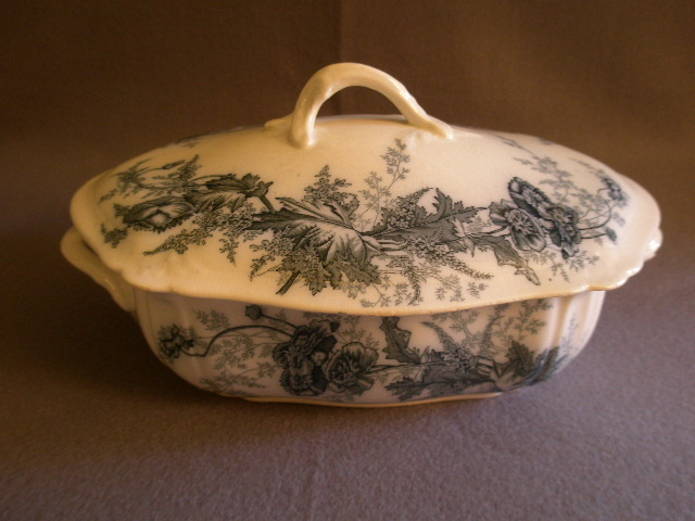 "Johnson Brothers Blue Transfer 'Paris"" Pattern Covered Vegetable Bowl"