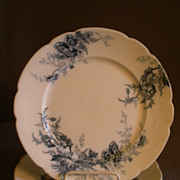 "Set of 4 Johnson Bros Blue Transfer ""Paris"" Pattern Dinner Plates"