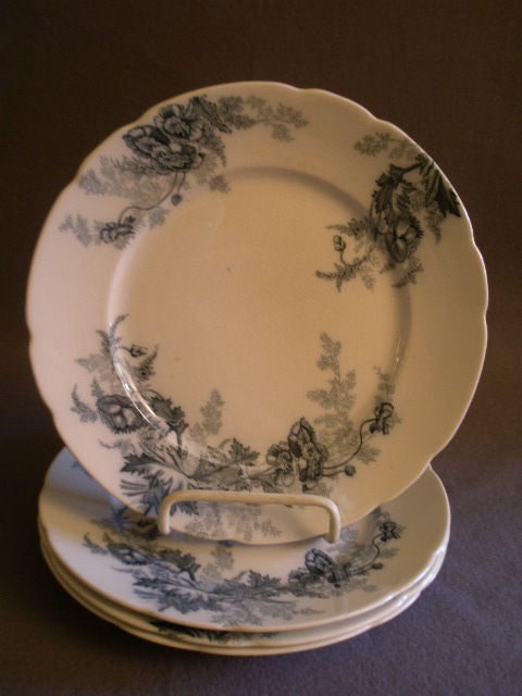 "Set of 4 Johnson Bros Blue Transfer ""Paris"" Pattern Luncheon Plates"