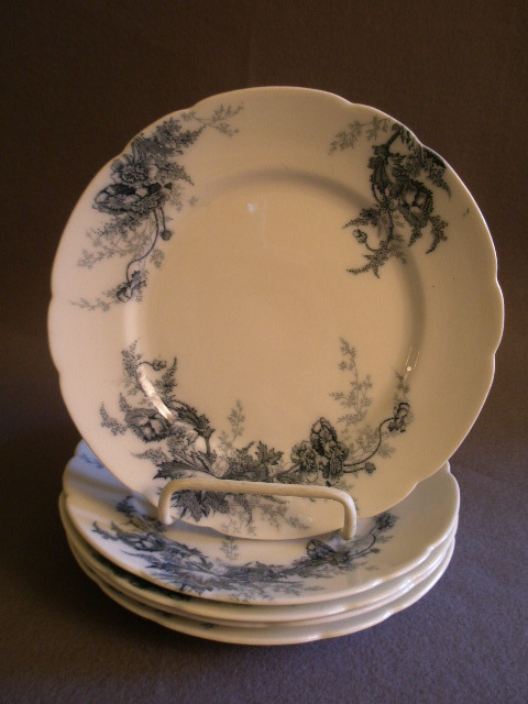 "Set of 5 Johnson Bros Blue Transfer ""Paris"" Pattern Salad/Dessert Plates"