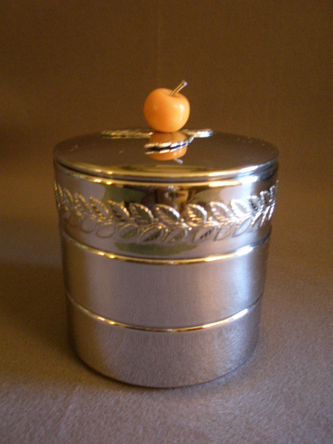 Chase Chrome Deco 3-Part Stacked Container w/Bakelite Apple Finial