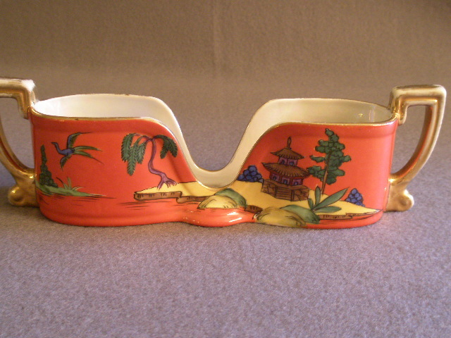 Vintage Noritake Hand Painted Spoon Holder w/Oriental Scenic Motif