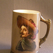 American Willets Belleek Hand Painted Tankard Stein w/ Portrait of Cavalier/Explorer