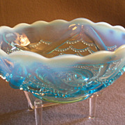 "Jefferson Glass Blue Opalescent ""Wishbone & Drapery"" Bowl"