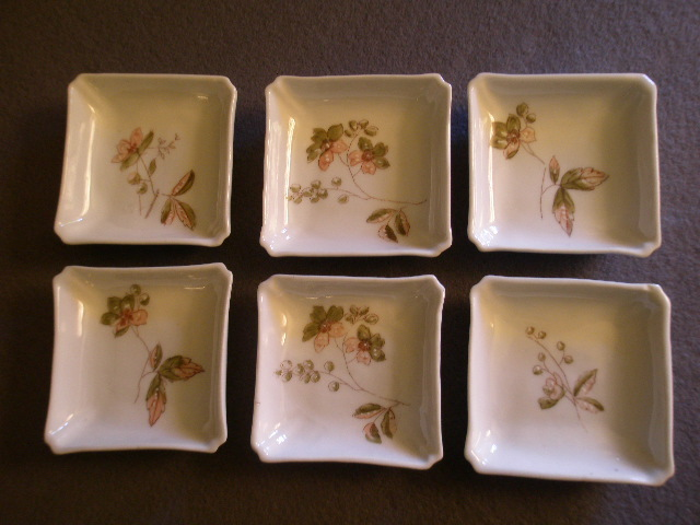 Set of 6 Early Limoges Butter Pats w/Factory Decorated Floral Motifs