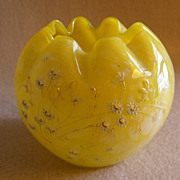 Victorian Canary Yellow Spatter Glass Hand-Painted Rose Bowl