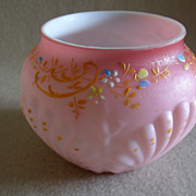 "Victorian Pink Satin Glass ""Shell & Seaweed"" Pattern Enameled Bowl"