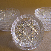 "Set of 12 American ""Brilliant"" Cut Glass Butter Pats - Eight-Point Star Design"