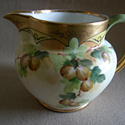Pickard Studio Hand Painted Milk Pitcher w/Gooseberry Motif