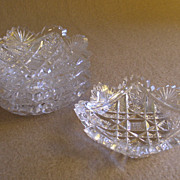 "Set of 5 American ""Brilliant"" Cut Glass Butter Pats - Intricate Cutting Design"