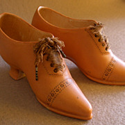 Pair of Royal Bayreuth Porcelain Figural Ladies Oxford-Laced Shoes