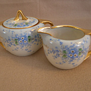 "Luken Studio H.P. ""Forget-Me-Not"" Pattern Sugar & Creamer Set"