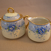 "Stouffer Studio H.P. China ""Forget-Me-Not"" Pattern Sugar & Creamer Set"