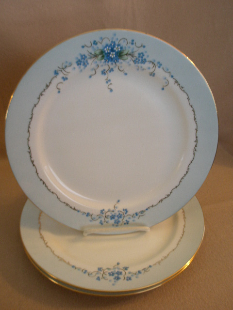"Set of 3 Stouffer Studio H.P. China ""Forget-Me-Not"" Pattern Dinner Plates"
