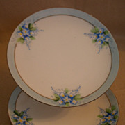 Noritake/Chikaramachi Porcelain - Set of 3 Hand Painted B&B or Dessert Plates w/Forget-Me-Not Motif