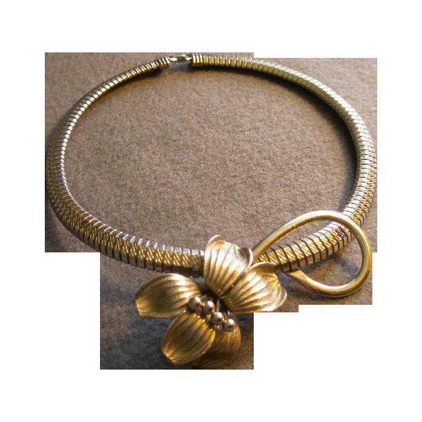Vintage Silver-Tone Bracelet-Link Choker Necklace w/Floral Attachment
