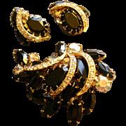 Juliana (DeLizza & Elster) Gold-Tone, Black & Aurora Borealis Rhinestone Brooch & Clip Earring Set