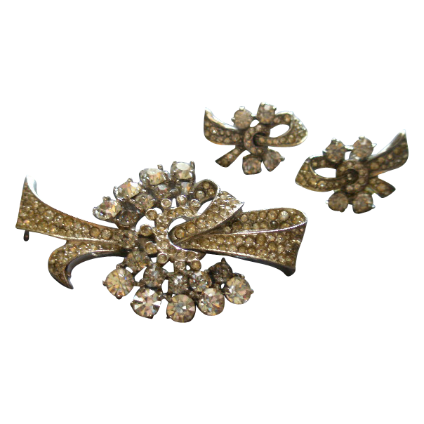 Vintage Sterling Silver & Diamond Rhinestone Tied Bow Brooch & Screw-Back Earrings Set