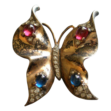 Trifari Alfred Philippe Sterling Silver Butterfly Brooch w/Ruby & Sapphire Cabs & Diamond Rhinestones