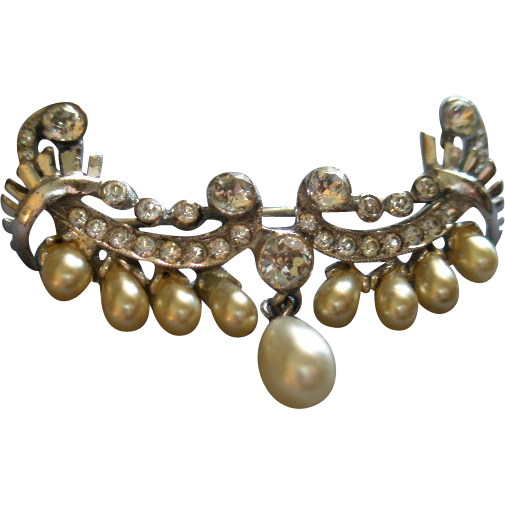 """DeRosa"" Sterling Silver, Diamond Rhinestones & Faux Pearl Wing-Shaped Brooch"