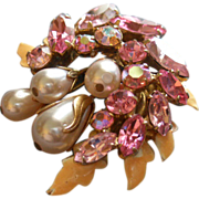 Regency Jewels Gold-Tone, Enamel, Colored Rhinestones & Faux Pearls Brooch