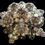 Coro Vendome Silver-Tone, Aurora Borealis & Smoke Rhinestone Floral Motif Brooch