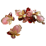 Juliana (DeLizza & Elster) Gold-Tone, Rhinestone, Cabochon & Moulded Roses Brooch & Clip Earring Set