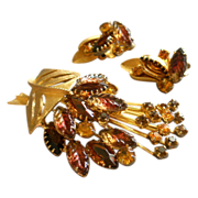 Juliana (DeLizza & Elster) Gold-Tone, Colored Rhinestones & Moulded Glass Brooch & Clip Earrings