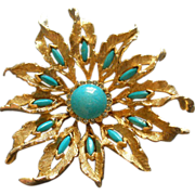 DeNicola Gold-Tone, Diamond Rhinestone & Faux Turquoise Stylized 'Sun Burst' Brooch