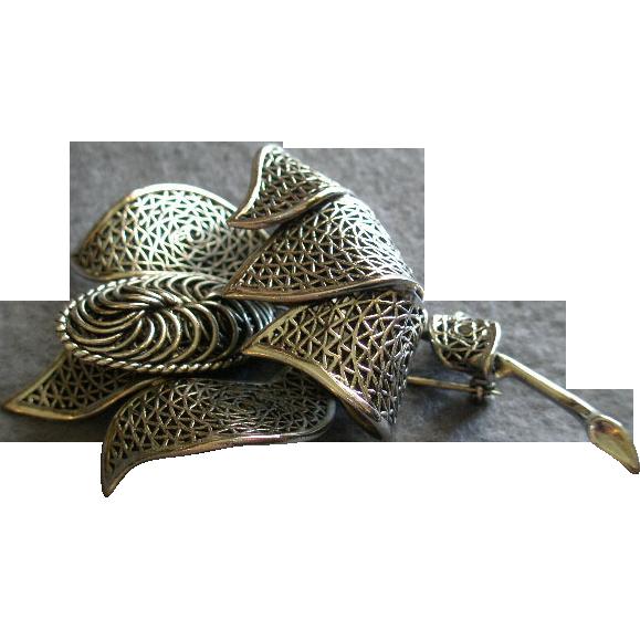Coro Vendome Silver-Tone Filigree Floral Brooch