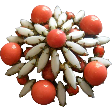 """Original by Robert"" White Navette & Orange Bead Brooch/Pendant"