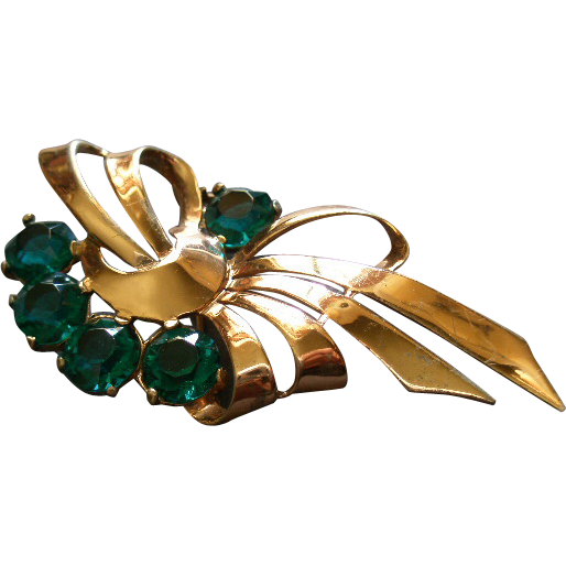 Boucher Sterling Silver, Gold Vermeil & Emerald Rhinestone Brooch