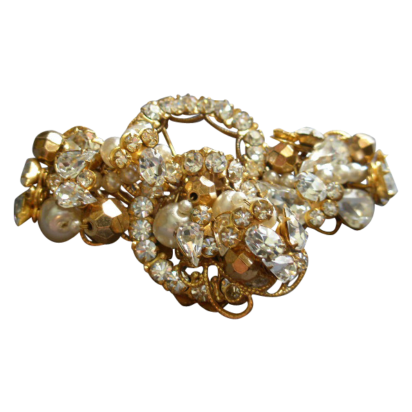 """Original by Robert"" Gold-Tone, Diamond Rhinestones, Faux Pearls & Gold Beads Brooch"